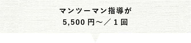 マンツーマン指導が1回5,500円から